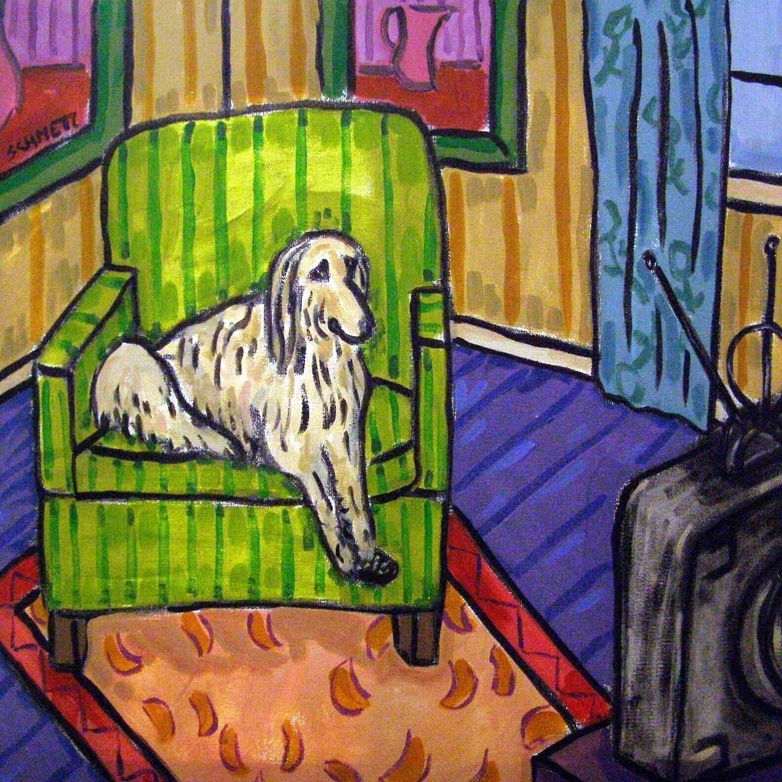 Afghan Hound at the cigar bar dog art tile tiles coaster gift coasters dogs