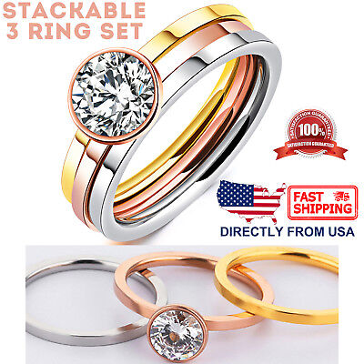 - Women's Cubic Zirconia Engagement Ring, Tri-Color Stackable 3 Ring Set