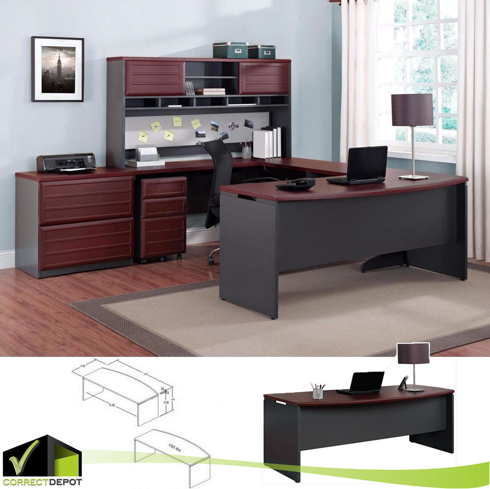 . Modern Large Office Executive Desk Business Work Home Cherry Wood