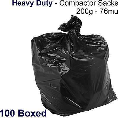 100x BLACK COMPACTOR SACKS - Heavy Duty Refuse Rubbish Bags Bin Liners 200g 76mu