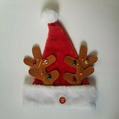 Santa Hat With Antlers (Deluxe Santa Hat With Light Up Reindeer Antlers Jingle Bells Plush Christmas)