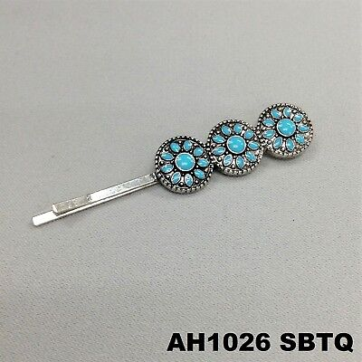 (Bohemian Style Triple Pendant Turquoise Flower Silver Finish Hair Clip Bobby Pin)