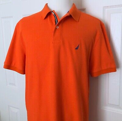 Nautica Performance Deck Shirt, Mens XL Classic Polo, Cotton Blend, Orange