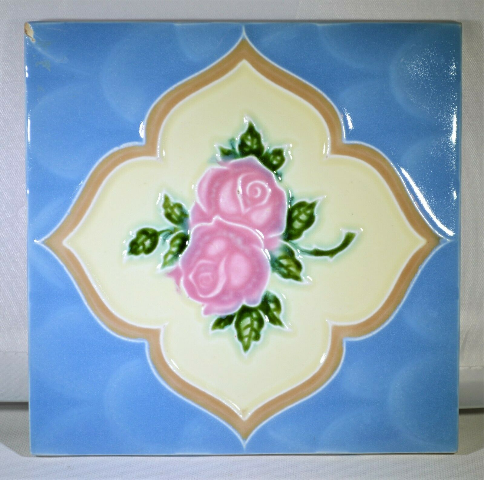 6 X 6 Embossed Rose Decorative Ceramic Tile Trivet Wall Art Made In England - $8.76