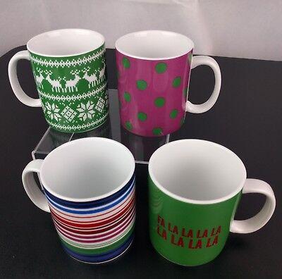 VTG 4 Tommy Hilfiger Christmas Mugs Coffee Cups Tea Deer Fa La La Hipster Cute - Cute Christmas Mugs