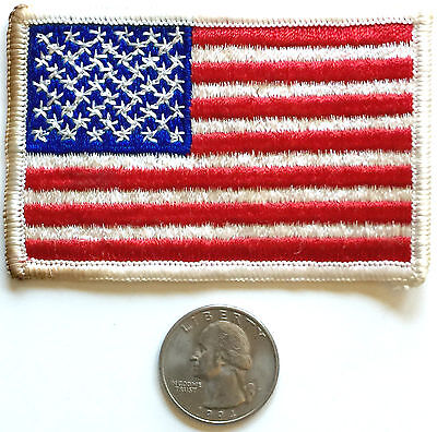 AMERICAN FLAG EMBROIDERED PATCH  WHITE BORDER US UNITED STATES SHOULDER INSIGNIA