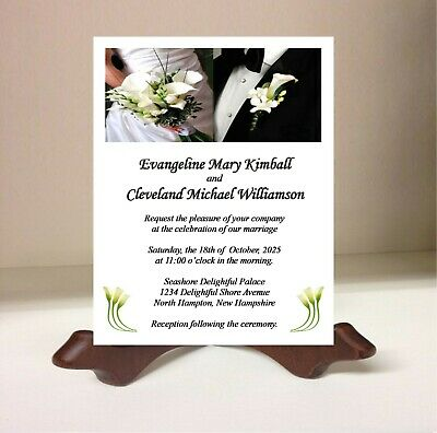Personalized Wedding Invitation Card Black Tie Bride and Groom White Lily Flower Black Tie Wedding Invitations