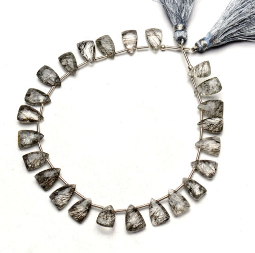 "Natural Gem Sri Lanka Black Rutile 10x7mm Approx. Size Faceted Beads Strand 9"""