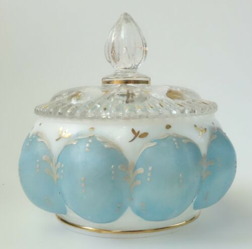 VINTAGE MELON GLASS POWDER JAR COVERED LIDDED BLUE WHITE HAND PAINTED