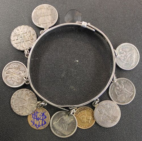 Very Rare Love Token Buckle Bracelet 2 Indian Princes and 9 Seated Liberty Dimes