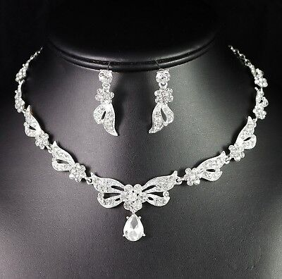 Daisy Clear Austrian Crystal Rhinestones Necklace and Earring Set Prom Wed N100 Crystal Daisy Necklace Earrings