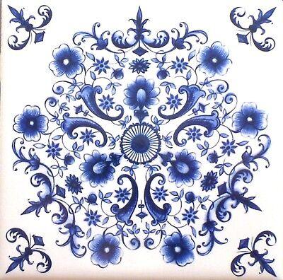 Blue Tile Design - Blue and White  Delft Design Ceramic Tile Center Inlay 4.25