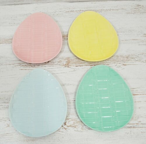 Hausen Ware Pastel Easter Eggs Shaped Plates Set of 4