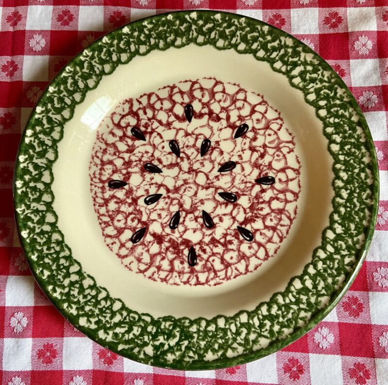 Vintage Workshops of Gerald E. Henn Watermelon Plate Red & Green Spongeware USA