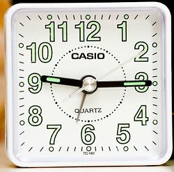 Casio TQ140-7D Travel Clock Quartz Alarm Clock Neobrite White Case w Battery New