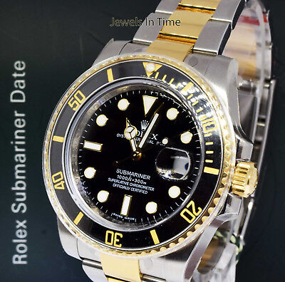 Rolex NEW Submariner Date 18k Gold & Steel Ceramic Black Watch Box/Papers 116613