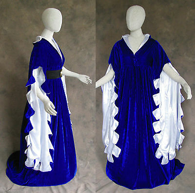 Blue Scalloped Renaissance Medieval Dress SCA Ren Faire Game of Thrones LOTR 2X ()