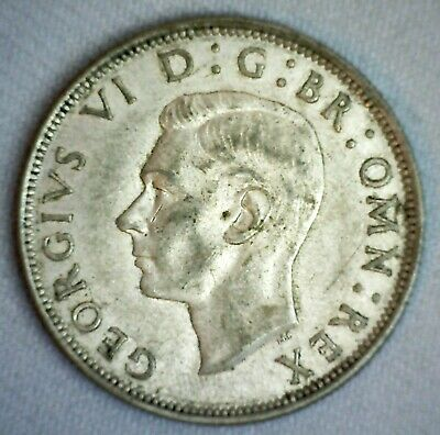 1944 Great Britain Silver 1/2 Crown Coin Extra Fine Circulated British George V