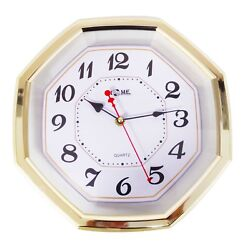 11.6 Premium Gold Colored Quality Quartz Battery Operated Octagon Wall Clock