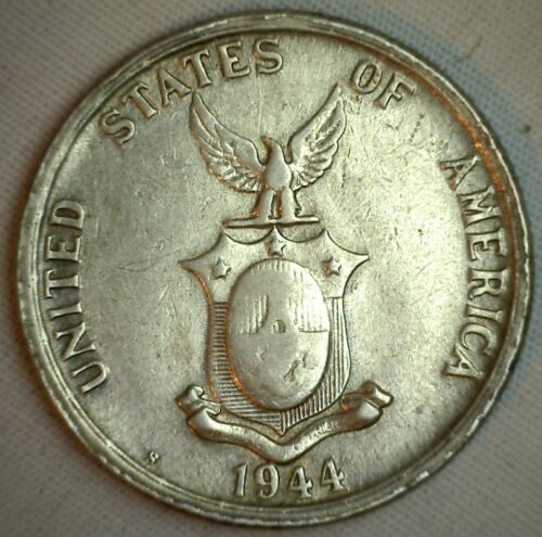 1944 S Philippines 50 Centavos Silver 50 Cents Coin XF Extra Fine KM 183 M6