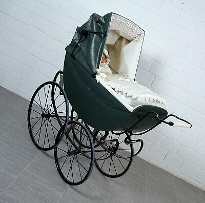 nostalgischer Kinderwagen Puppenwagen mit Geheimfach + Speichenräder 30er Jahre