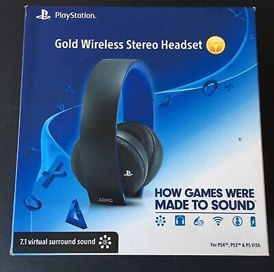 PlayStation Gold Wireless Stereo Headset 7.1Virtual Surround Sound For PS4 PS3 :