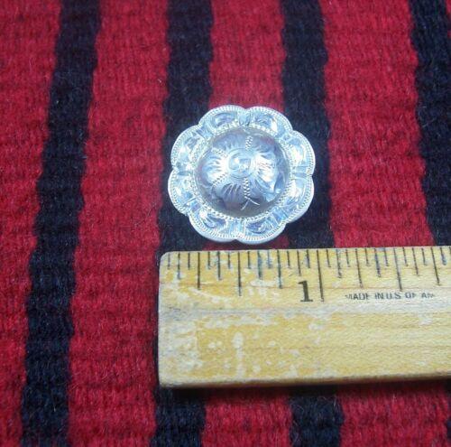 "Vtg Sterling Silver 1"" Plain Edge Flower Concho Western Headstall Bridle Belt"