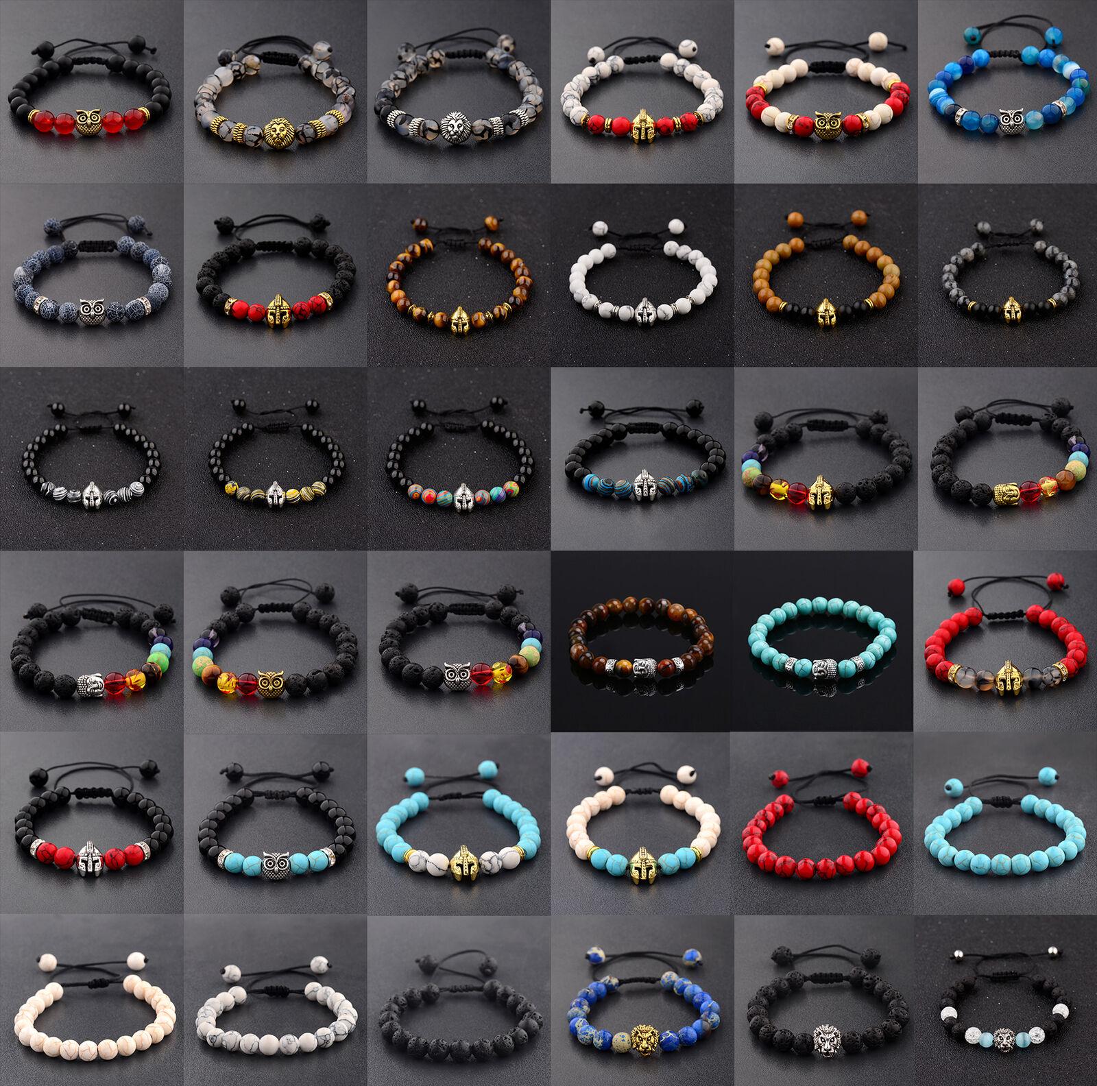 1Pcs Men Women 8MM Gemstone Beaded Braided Bracelets Charm Fashion Jewelry Gift