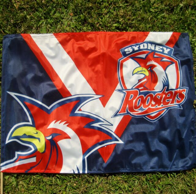 NRL SYDNEY ROOSTERS FLAG Game Day 850 x 600mm on stick NEW!