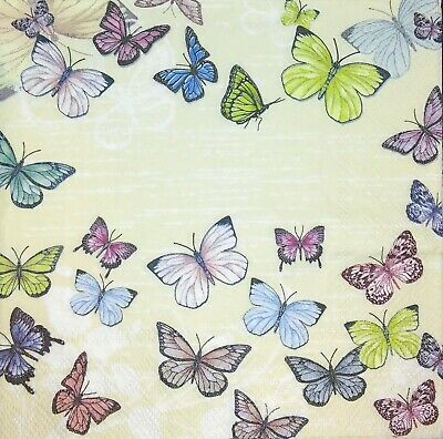 3 x Single Paper Napkins Decoupage Craft Tissue Lots of Butterfly on Beige M228