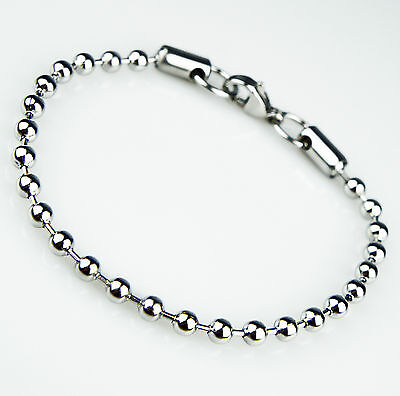 Unisex Women's Mens Stainless Steel Silver Beads Bracelet B6