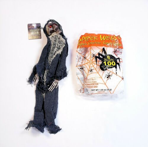 "Halloween Decorations Hanging 18"" Skeleton In Chains & Spider/Cobweb Bundle Pack"