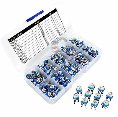 Usa 200pcs 10 Values Potentiometer Trimpot Variable Resistor Assortment Box Kit