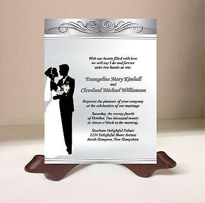 Wedding Invitations RSVP Card Bride Groom Swirls Silver Gray 50 Personalized Set
