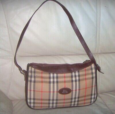 Vintage Burberry Leather Canvas Nova Check Shoulder Bag