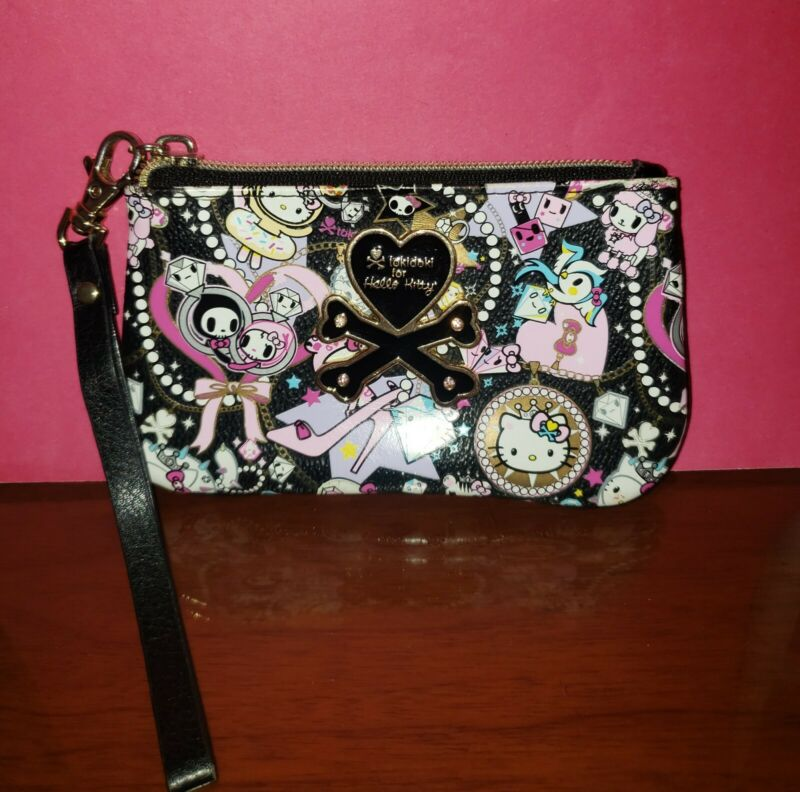 tokidoki X Hello Kitty Sanrio Black Diamond Clutch Pouch Wristlet Bag-GUC!