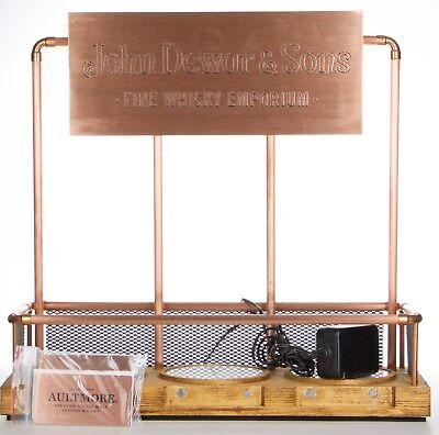 """Dewars Whiskyregal """"Glorifier"""", Kupfer & Holz, Beleuchtung inkl. Kupferschilder"""