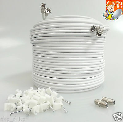 5M White Satellite Twin F Connector Sky + HD Extension Coax Cable Lead TV Wire