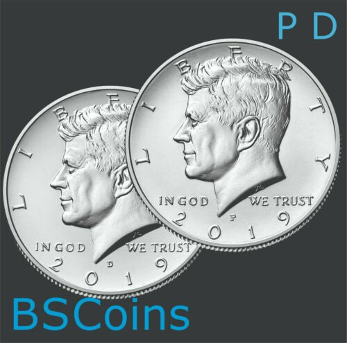 2019 P & D Kennedy Half Dollar - 2 Coin Set - Bu - In Stock - Free Ship Today!!