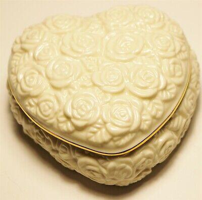 Vintage in Seattle lot#391 Perfect LENOX porcelain heart rose trinket jewel box