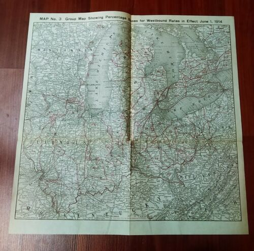 1914 Map with Percentage Rates Westbound NY Chicago Railway