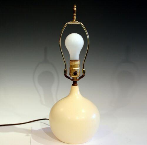 Vintage Lotte & Gunnar Bostlund Pottery Danish Mid Century Ivory White MCM Lamp