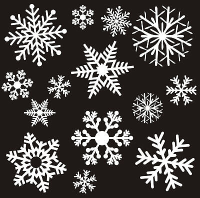 XMAS SANTA SLEIGH REINDEER SNOWFLAKES STARS CHRISTMAS STENCIL WINDOW DECORATION
