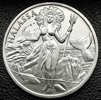 Trident Silver Thalassa Goddess Of The Sea 1 Troy oz .999 Fine Silver Coin