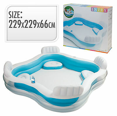 INTEX LARGE SWIM CENTER FAMILY PADDLING POOL GARDEN SUMMER INFLATABLE WITH SEATS