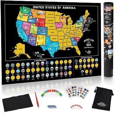 Scratch Off Map United States - USA Scratch Travel Map - US LandmarksAdventures