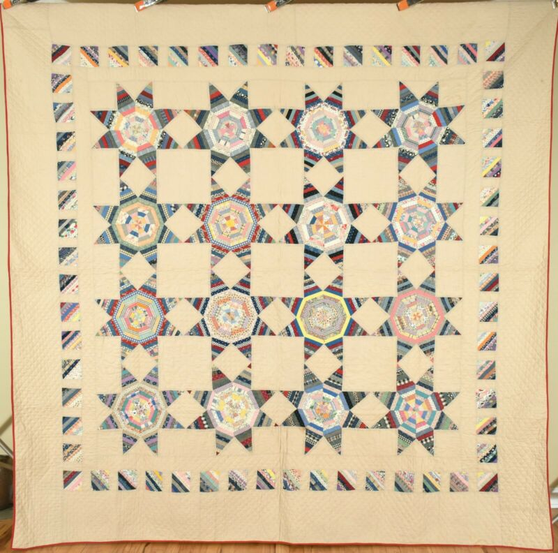 Large BEAUTIFUL Vintage String Star Antique Quilt ~UNUSUAL BORDER!