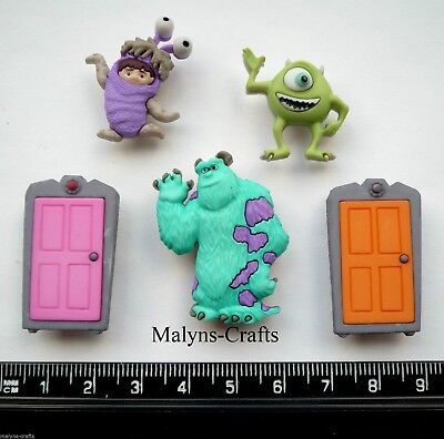 Disney MONSTERS INC Craft Buttons 1ST CLASS POST Mike Wazowski Sully Boo Cartoon