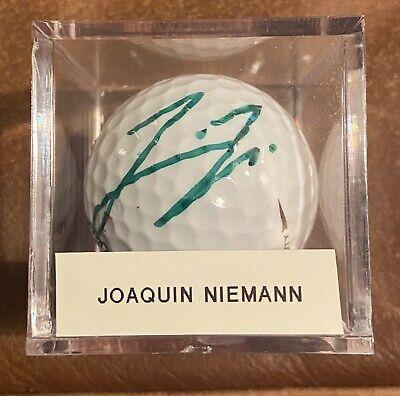 JOAQUIN NIEMANN SIGNED NEW TITLEIST MASTERS GOLF BALL AUTO AUTOGRAPH + CUBE PGA
