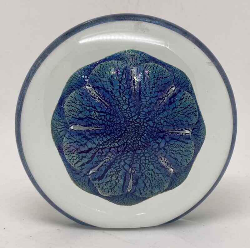1998 Robert Eikholt Luminous Blue Ocean Sand Dollar  Glass Paperweight MINT!